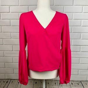 BAR III Blouson-Sleeve Surplice Dressy Blouse Pink